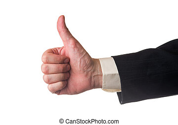 Thump up, man has a suit, white isolated background.