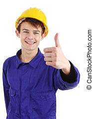 Thumsb up worker with a hard hat