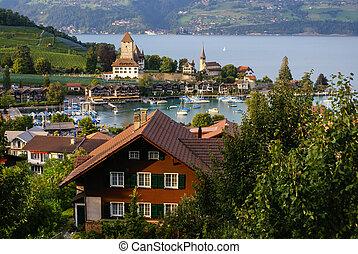 thun, スイス, 城, 湖, spiez