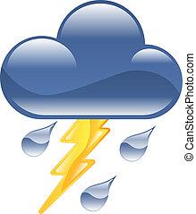 thun, ikon, időjárás, clipart, villámlás