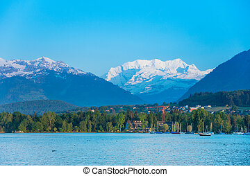 Thun lake and Alps snow caps