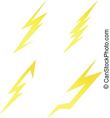 thunde bolts symbol set vector elements
