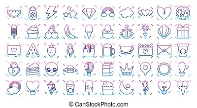 thunder and kawaii icon set, gradient line style