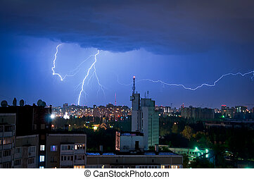 thunder and Lightning over the city