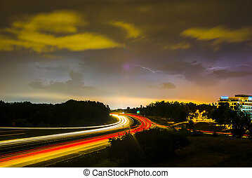thunder and lightning storm weather during evening traffic commute
