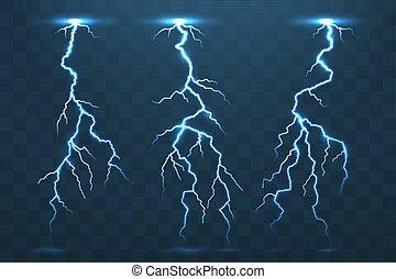 Thunder bolt and lightnings, thunderstorm electricity flash. Ele