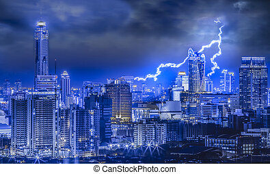 Thunder bolt - Thunderbolt in the big city, with night urban