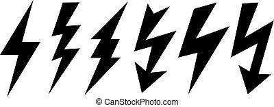 Thunder bolt vector icon, lightning symbol