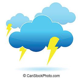 Thunder cloud and lightning illustration over white...
