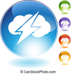 Thunder Cloud Crystal Icon - Thunder cloud crystal icon...
