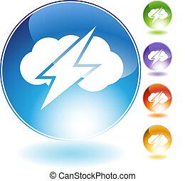 Thunder Cloud Crystal Icon - Thunder cloud crystal icon ...