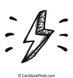 Thunder, danger vector hand drawn illustration. Icon on transparent background