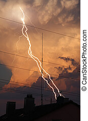 thunder lightning cloud evening - A photography of a thunder...