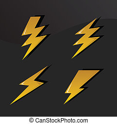 thunder set - vector set of thunders and lightnings