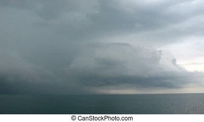 thunder-storm, képben látható, a, tenger