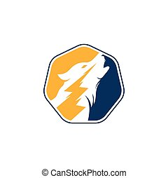 Thunder Wolf Logo design Vector.