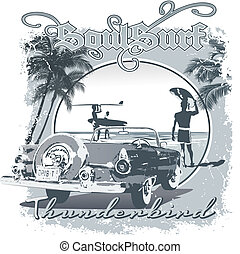 Thunderbird surf - illustration for shirt printed and poster