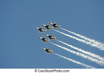 Thunderbirds - Thunderbird jets perform precision maneuvers...