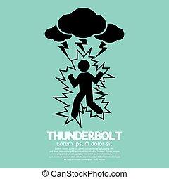 Thunderbolt On A Man Symbol.