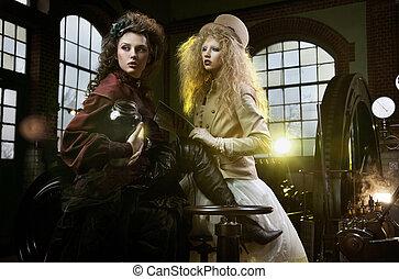 thunderbolt, pot, vrouw, oude mode