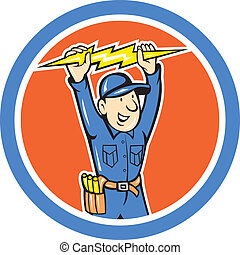 Thunderbolt Toolman Electrician Lightning Bolt Cartoon