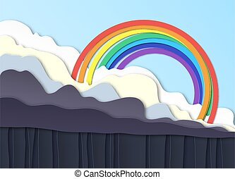 Thunderclouds. Rain on the ground, downpour. Above the clouds a rainbow in the blue sky. Layered design. Peper cut. Vector