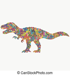 thundering dinosaur with a creative colorful pattern of...