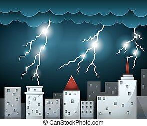 Thunderstorm and dark clouds over city illustration