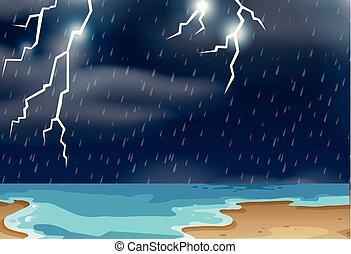 Thunderstorm at beach landscape illustration