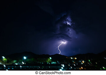 thunderstorm at night with lightning