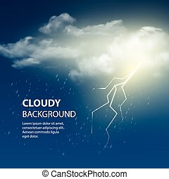 Thunderstorm Background With Cloud and Lightning, Vector Illustration.