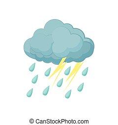 Thunderstorm cloud icon, cartoon style