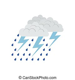Thunderstorm icon. Flat color design. Vector illustration.