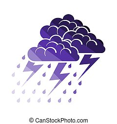 Thunderstorm Icon. Flat Color Ladder Design. Vector...