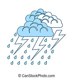 Thunderstorm Icon. Thin Line With Blue Fill Design. Vector...