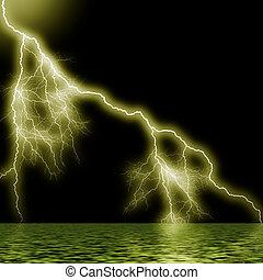 Thunderstorm in the ocean.