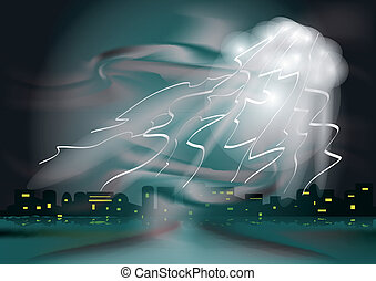 thunderstorm in the town