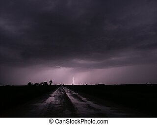Thunderstorm Lightning - Illinois - Lightning strikes in the...