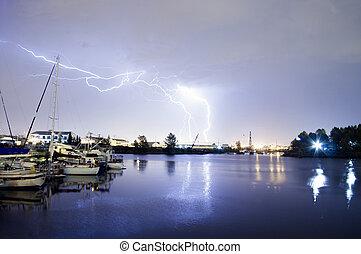 Thunderstorm Lightning Over Thea Foss Waterway Boats Tacoma...
