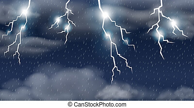 Thunderstorm on raining sky illustration