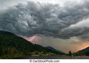 Thunderstorm over lake