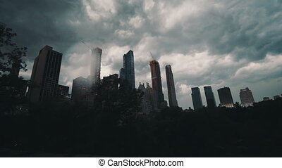 Thunderstorm Time Lapse over Central Park, Manhattan, New York City with new Skyscrapers in construction