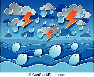 Thunderstorm with lightning over the sea and funny cartoon fishes looking up with curvy waves rainy weather, perfect modern vector illustration in paper cut 3d style.