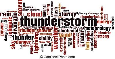 Thunderstorm word cloud concept. Vector illustration