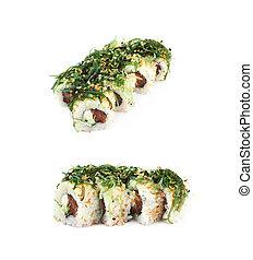 thunfisch, sushiplatte, freigestellt, see unkraut