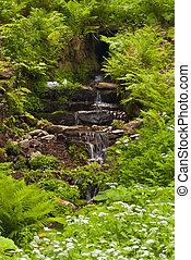 thuringian, floresta, cachoeira
