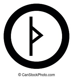 Thurisaz rune Tpurizas Tor Thorn icon black color vector in ...