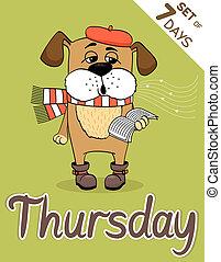 thursday - Thursday, weekdays hipster vector illustration...