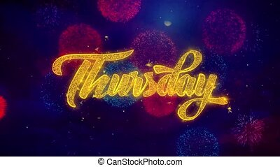 Thursday Greeting Text Sparkle Particles on Colored...