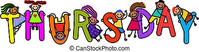 Thursday Kids - A group of happy stick children climbing...